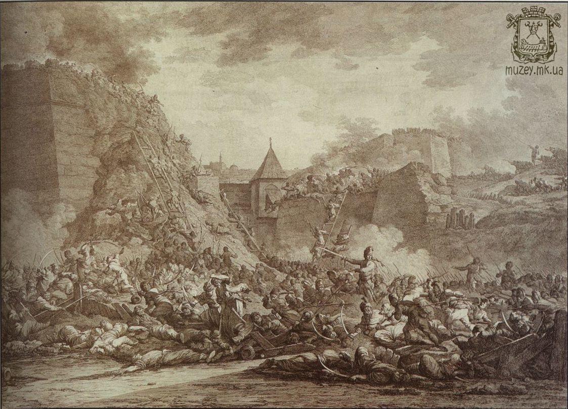 Штурм Очакова 6 декабря 1788 г. Гравюра А. Берга